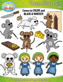 Three Blind Mice Nursery Rhyme Clipart Set — Over 55 Graphics!