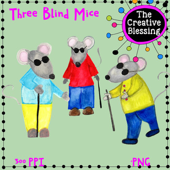 Three Blind Mice Watercolor Clip Art