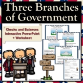 Three Branches Government Checks & Balances Interactive Powerpoint + Worksheet