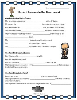 Branches Government Checks & Balances Interactive Powerpoint + Worksheet