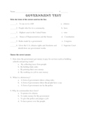 Three Branches of American Government Test