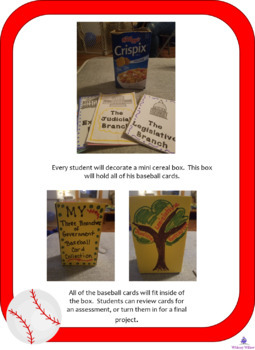 Three Branches Of Government Baseball Card Research Project With Collectors Box