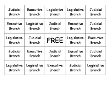 Three Branches of Government Bingo
