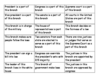 Three Branches of Government Bingo