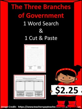 Three Branches of Government Bundle (1 Word Search & 1 Cut & Paste)