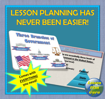 Three Branches of Government   COMPLETE LESSON PLAN   Distance Learning!
