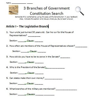 Three Branches of Government Constitution Search