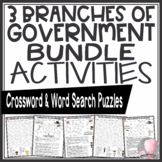 Three Branches of Government Crossword Puzzles Word Searches Activities BUNDLE