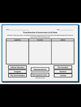 Three Branches of Government Cut & Paste w/ Answer Key