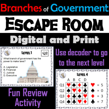 Three Branches of Government Escape Room - Social Studies