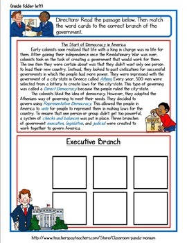 Three Branches of Government File Folder Activity