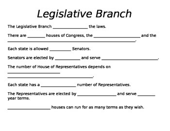 Three Branches of Government Fill in the Blank Notes or Assignment