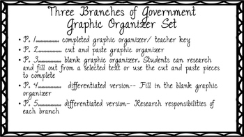 Three Branches of Government Graphic Organizer Set