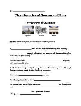Three Branches of Government- Guided Notes and Assessment