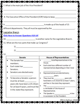 Three Branches of Government Internet Scavenger Hunt WebQuest Activity