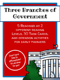 Three Branches of Government Leveled Readings and Task Cards - Differentiated