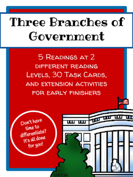 Three Branches of Government Leveled Readings and Task Car