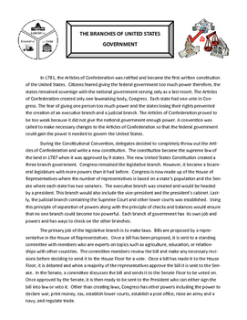 Three Branches of Government Reading Comprehension Packet
