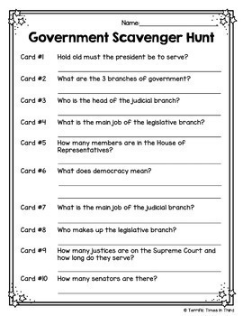 Three Branches of Government Scavenger Hunt