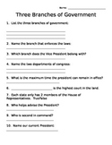 Three Branches of Government Short Quiz or Assignment