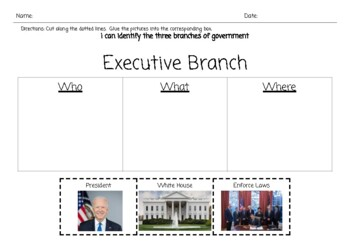 Three Branches of Government Sorts