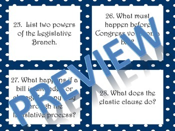 Three Branches of Government Task Cards - 8th Grade