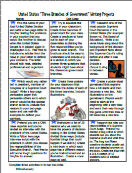 Three Branches Of Government Enrichment Projects Lesson