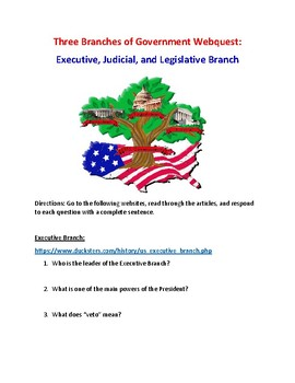 Three Branches of Government Webquest (With Key!)