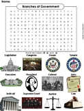 Three Branches of Government Worksheet/ Word Search