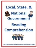 Three Branches of Local, State, & National Government Reading Comprehensions
