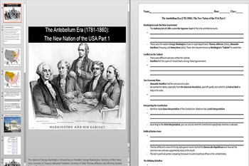 Washington's Cabinet and the Constitution Powerpoint AND Notes Worksheet