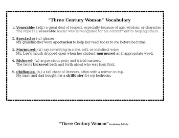 Three Century Woman - Vocabulary & Activities