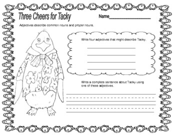 Three Cheers for Tacky -- Comprehension, Subheadings, Word Game, and More!