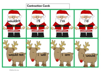Literacy Centers-Compound Words, Contractions, Nouns Holiday Theme