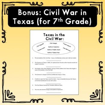 Three Civil War Worksheets (Plus a Texas History Bonus)