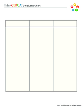 Three column chart graphic organizer by thinkcerca tpt