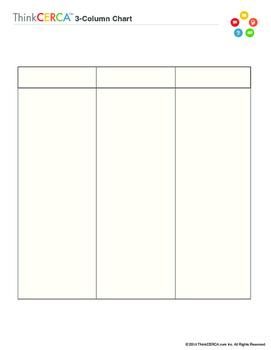 three column chart graphic organizer by thinkcerca tpt