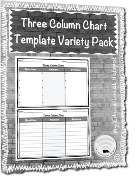Three Column Chart Template Graphic Organizer Variety Pack