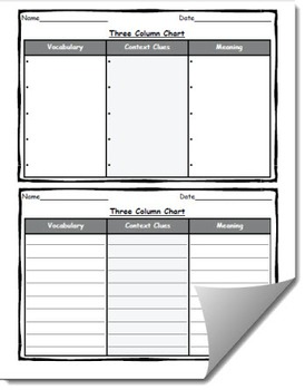 Three Column Chart Template (Variety of Headings)
