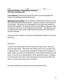 Three Day Horror Story Lesson Plan - Sub Plan