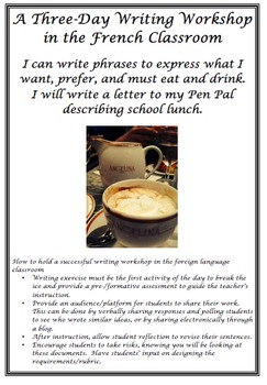Three Day Writing Workshop for the French Classroom