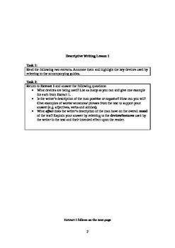Three Descriptive Writing Lessons