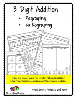 3 digit addition without regrouping pdf