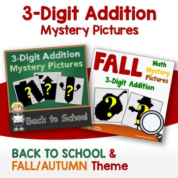 Back To School, Fall - Three Digit Addition Coloring Worksheets