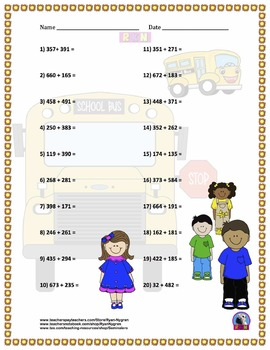 Three Digit Addition - Back to School Themed Worksheets - Horizontal (15 Pages)