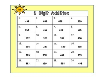 Three Digit Addition Cards