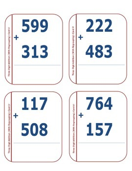 Three-Digit Addition Cards (With Regrouping)!