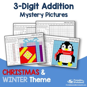 Christmas, Winter Three Digit Addition Coloring Worksheets