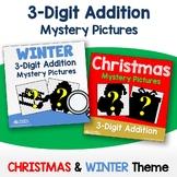 Add & Color Christmas Addition 3 Digit, Winter Math Worksheet 2nd Grade 3 Sheets