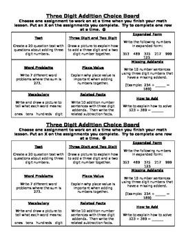 Three Digit Addition Common Core Choice Board